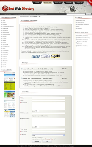Best Web Directory Submission Page